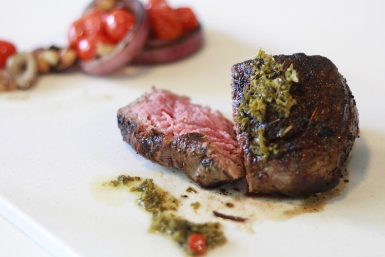 Steak with a cut