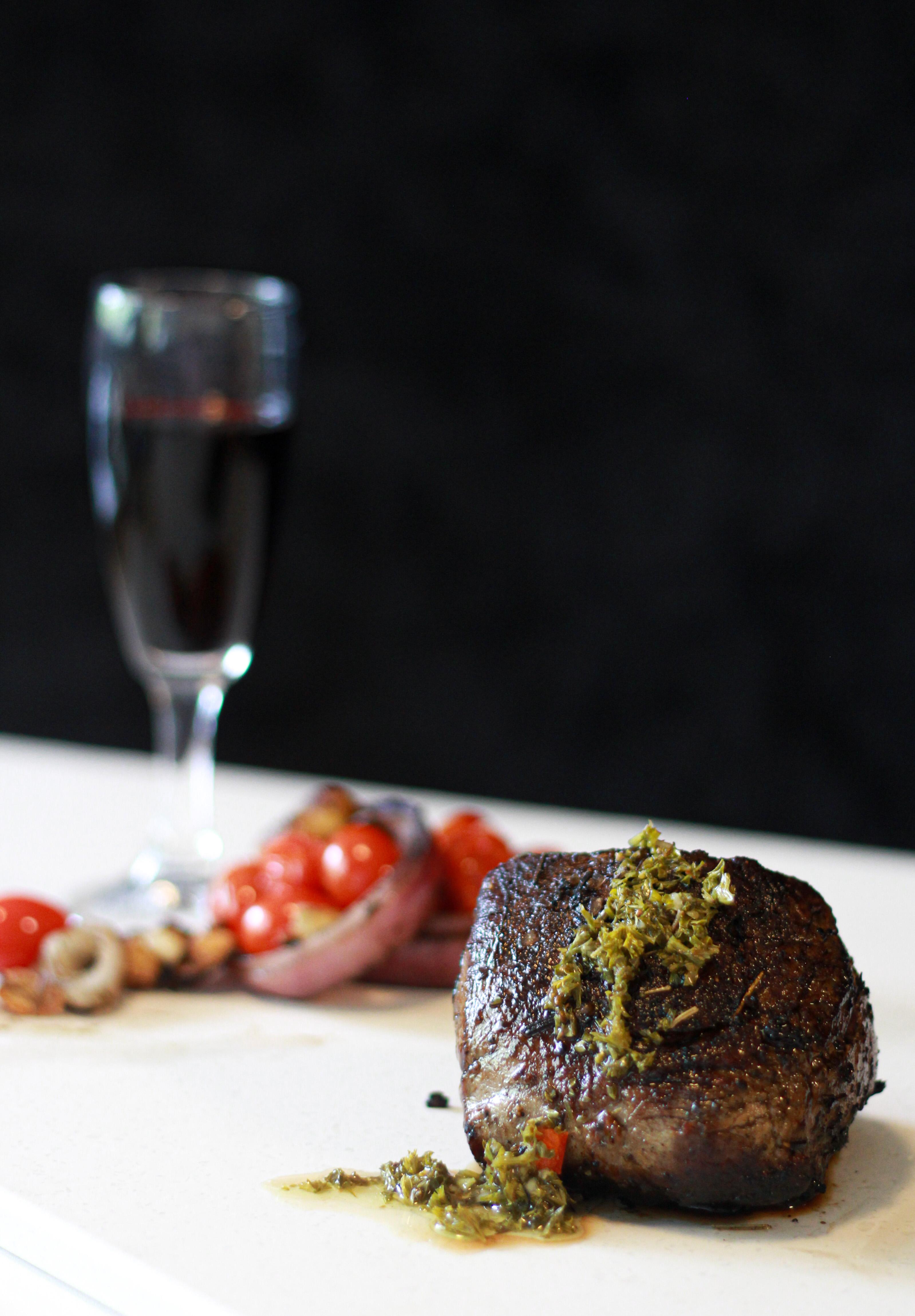 Alcohol tasting with Medium Rare Steak